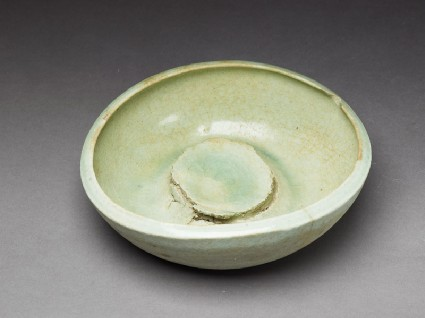 Bowl waster with pale-green glazeoblique