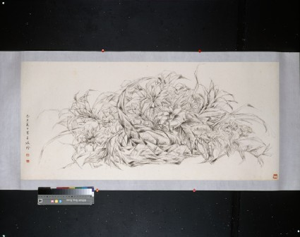 Basket of flowersfront, painting only