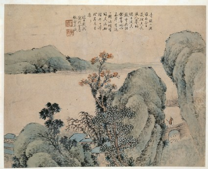 Landscape with figure on a bridgefront