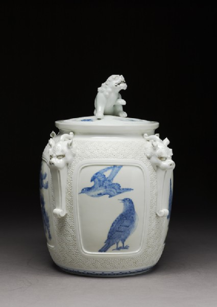 Water jar surmounted by a shishi, or lion dogside