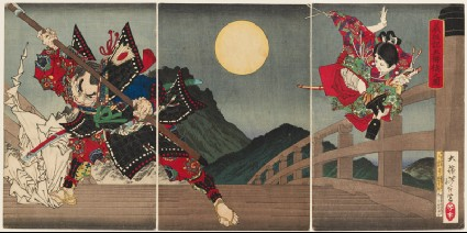 Yoshitsune and Benkei at Gojō Bridgefront