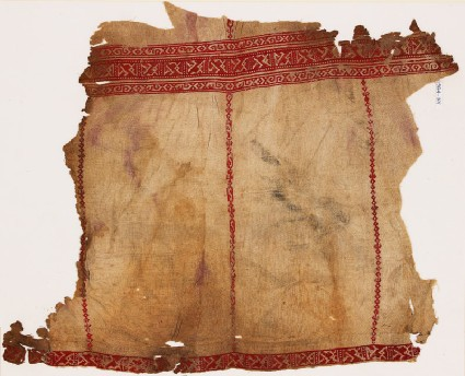 Textile fragment from a tunic with geometric bandsfront
