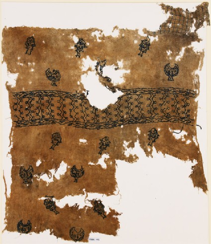 Textile fragment with chalices, fish, and inscriptionfront