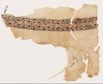 Textile fragment with bands of spiralsfront