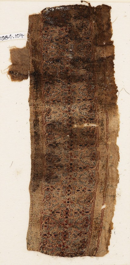 Textile fragment with interlacing quatrefoils and trefoilsfront