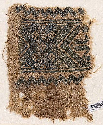 Textile fragment with interlace of squaresfront
