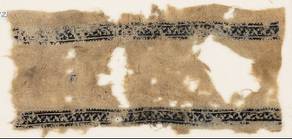Textile fragment with bands of stylized leavesfront
