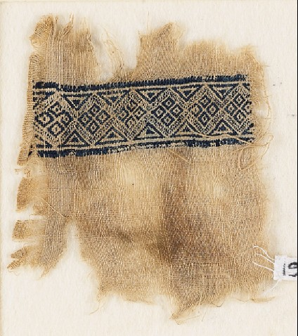 Textile fragment with band of diamond-shapesfront