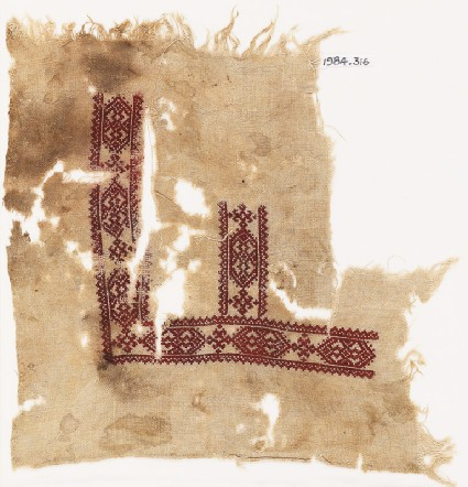 Textile fragment with cartouches and hooksfront