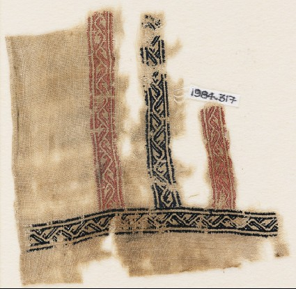 Textile fragment with bands of vines and leaves, probably from a garmentfront