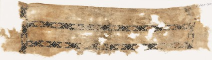 Textile fragment with bands of diamond-shapes, hexagonal cartouches, and quatrefoilsfront