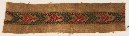 Textile fragment with band of chevrons, S-shapes, and leavesfront