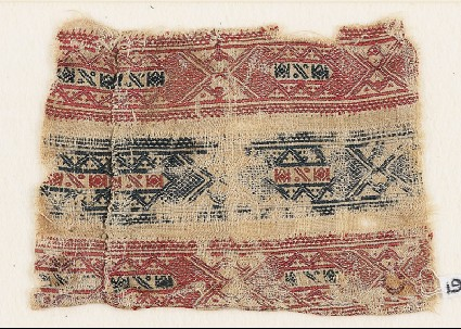 Textile fragment with bands of interlocking diamond-shapesfront