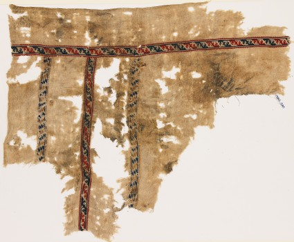 Textile fragment with bands of leaves and lozengesfront
