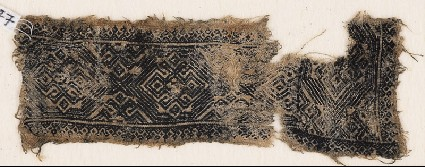 Textile fragment with bands of ornate diamond-shapes and hooksfront