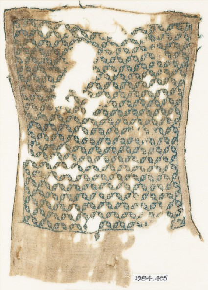 Textile fragment with linked quatrefoils, possibly from a sash or turban clothfront