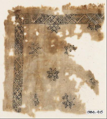 Textile fragment with eight-pointed starsfront
