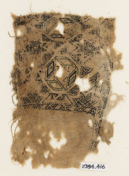 Textile fragment with eight-pointed stars and lozengesfront