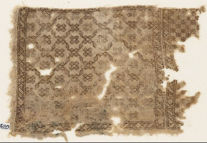 Textile fragment with diagonal grid of lozengesfront