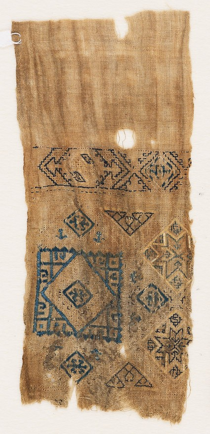 Textile fragment with squares and trianglesfront