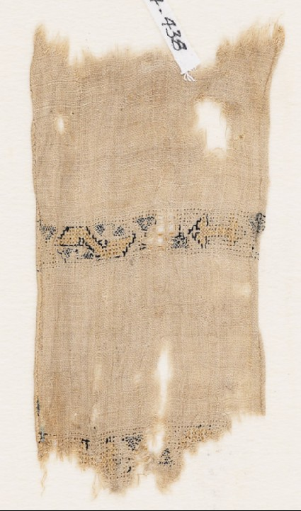 Textile fragment with two parallel bandsfront