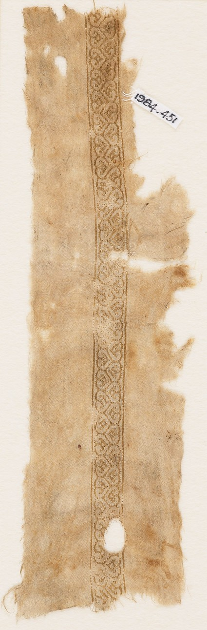 Textile fragment with band of linked heartsfront