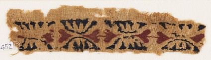 Textile fragment with paired heartsfront