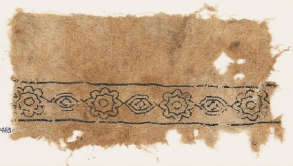 Textile fragment with alternating rosettes and medallionsfront