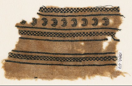 Textile fragment with crescents and chequersfront