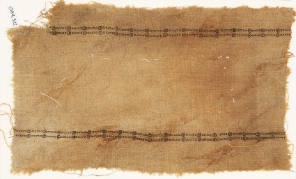 Textile fragment with two parallel bands of circles and S-shapesfront