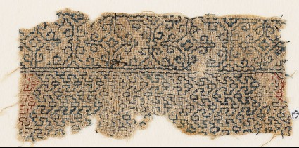 Textile fragment with interlacing chevrons and Maltese crossesfront