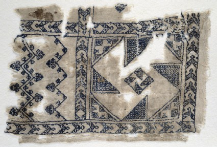 Textile fragment with geometric patternsfront
