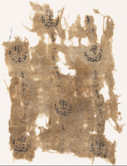 Textile fragment with three rows of crescentsfront