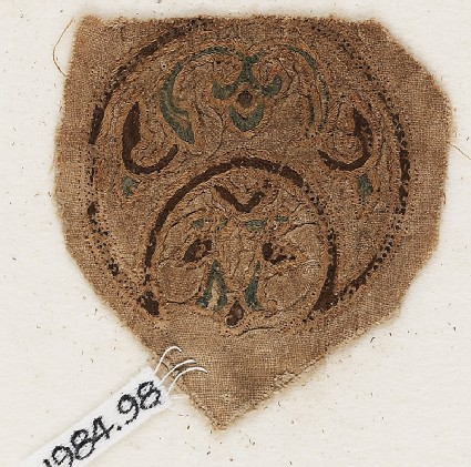 Roundel textile fragment with blazonfront