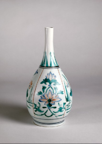 Bottle with four panels depicting lotus flowers and insectsoblique
