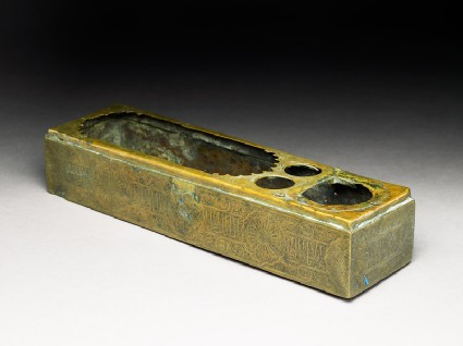 Brass pen box with inscriptionoblique