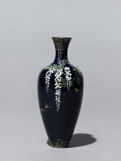 Baluster vase with wisteria and birdsside
