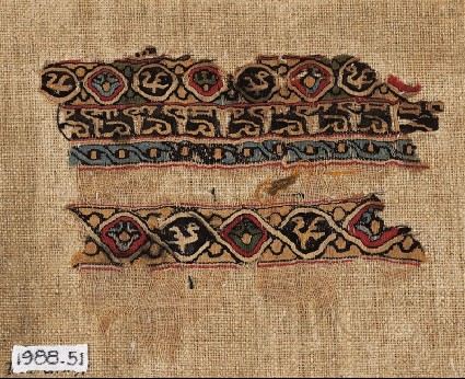 Textile fragment with interlacing roundels, birds, and pseudo-inscriptionfront