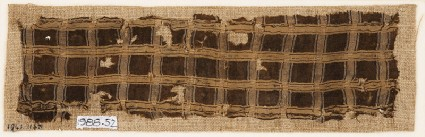 Textile fragment with grid of stripesfront