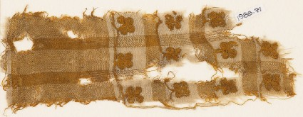 Textile fragment with squares and flowersfront
