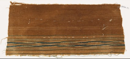Textile fragment with band of stripesfront