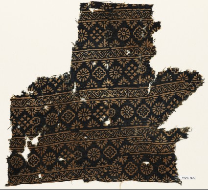 Textile fragment with rosettes, carnations, diamond-shapes, and crossesfront