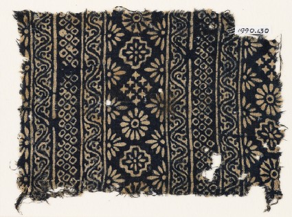 Textile fragment with carnations, stepped squares, stars, and rosettesfront