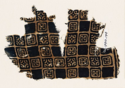 Textile fragment with linked squares, stylised flower-heads, and lines with dotsfront