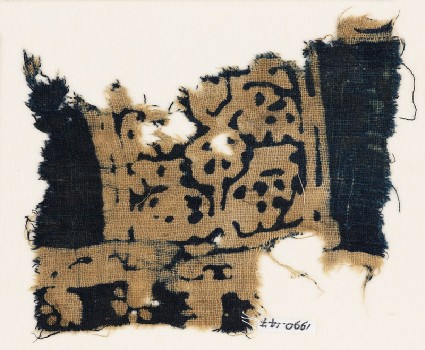 Textile fragment, possibly with squares and stylized animalsfront