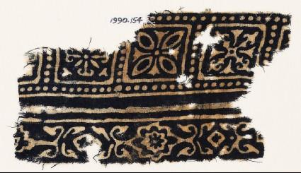 Textile fragment with squares, quatrefoils, and flowersfront