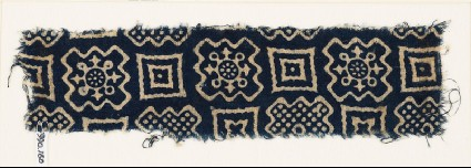 Textile fragment with squares and stepped squaresfront
