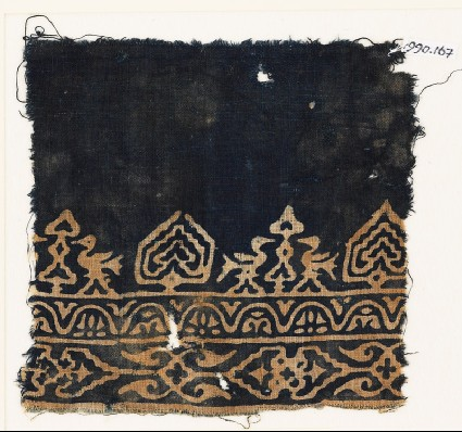 Textile fragment with birds, possibly tree-shapes, and stylized plantsfront