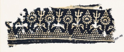 Textile fragment with stylized trees and flowersfront