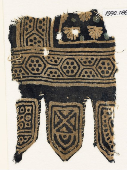 Textile fragment with hexagons and palmettes, and three tabsfront